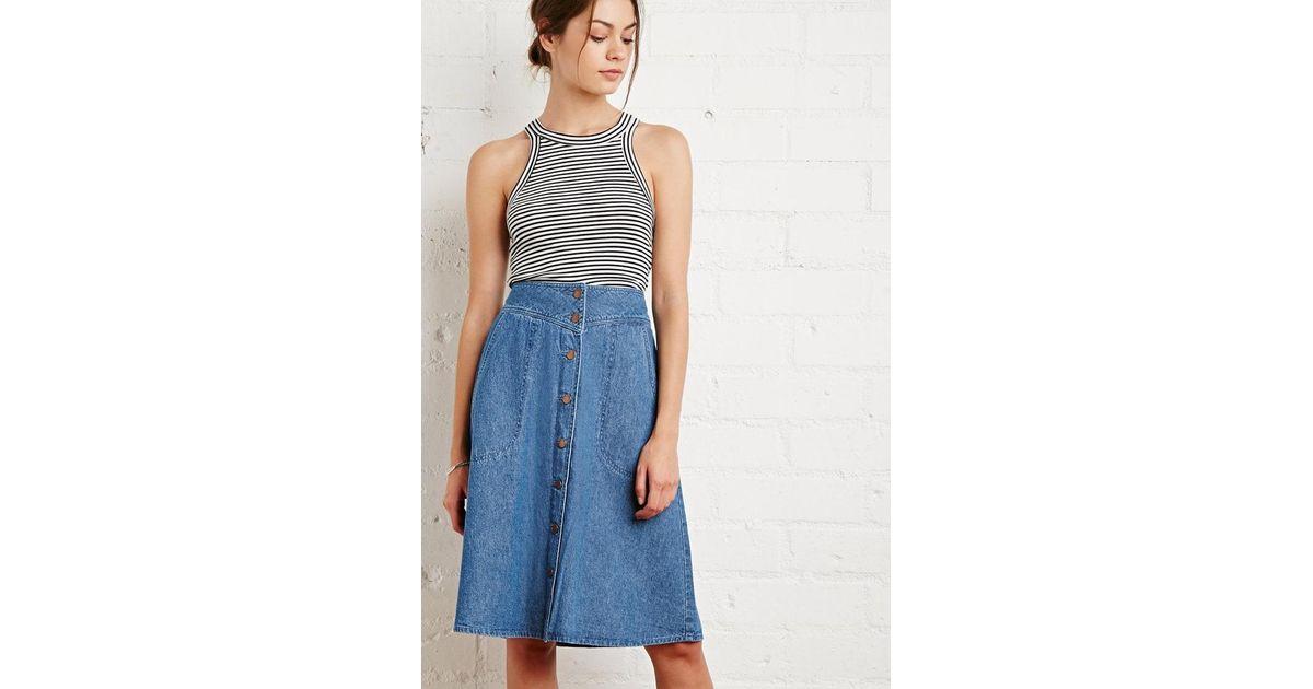 ecb3e45c64 Forever 21 Button-front Denim Skirt in Blue - Lyst