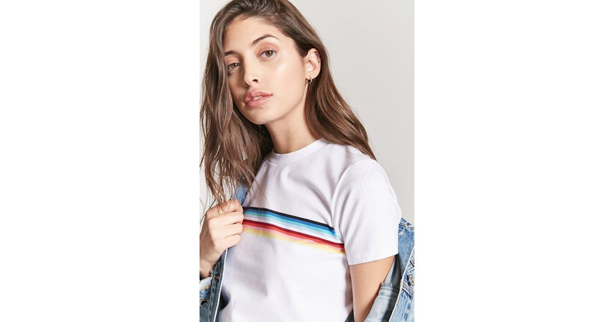 94e90d1ddc Forever 21 Rainbow Stripe Tee in White - Lyst
