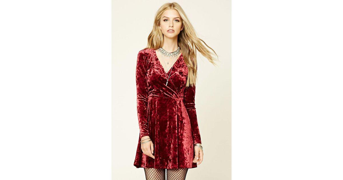 d191594eee9 Forever 21 Crushed Velvet Skater Dress in Red - Lyst