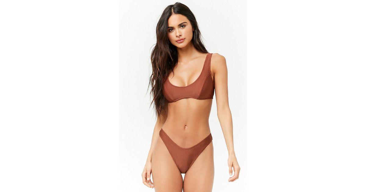f7b02060f5 Lyst - Forever 21 Seamed Bralette Bikini Top in Brown