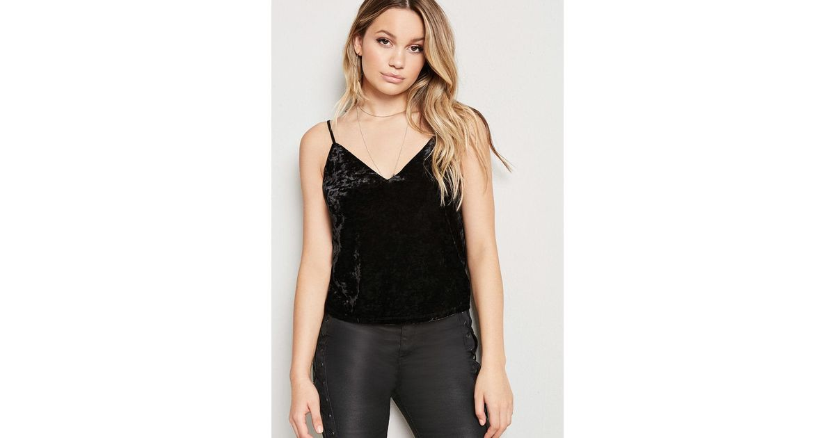 ccd4ba6a08aa4 Lyst - Forever 21 Raw-cut Crushed Velvet Cami Top in Black