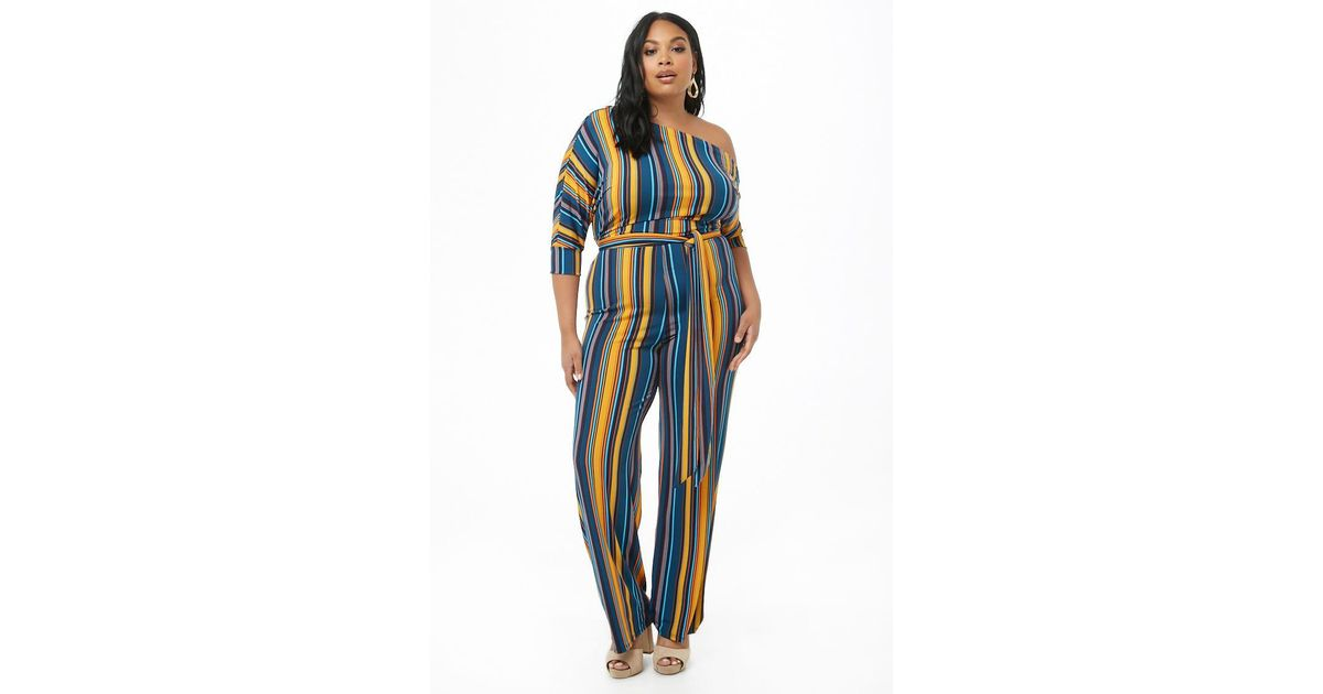 b9b791e011a9 Forever 21 Women's Plus Size Striped One-shoulder Palazzo Jumpsuit in Blue  - Lyst