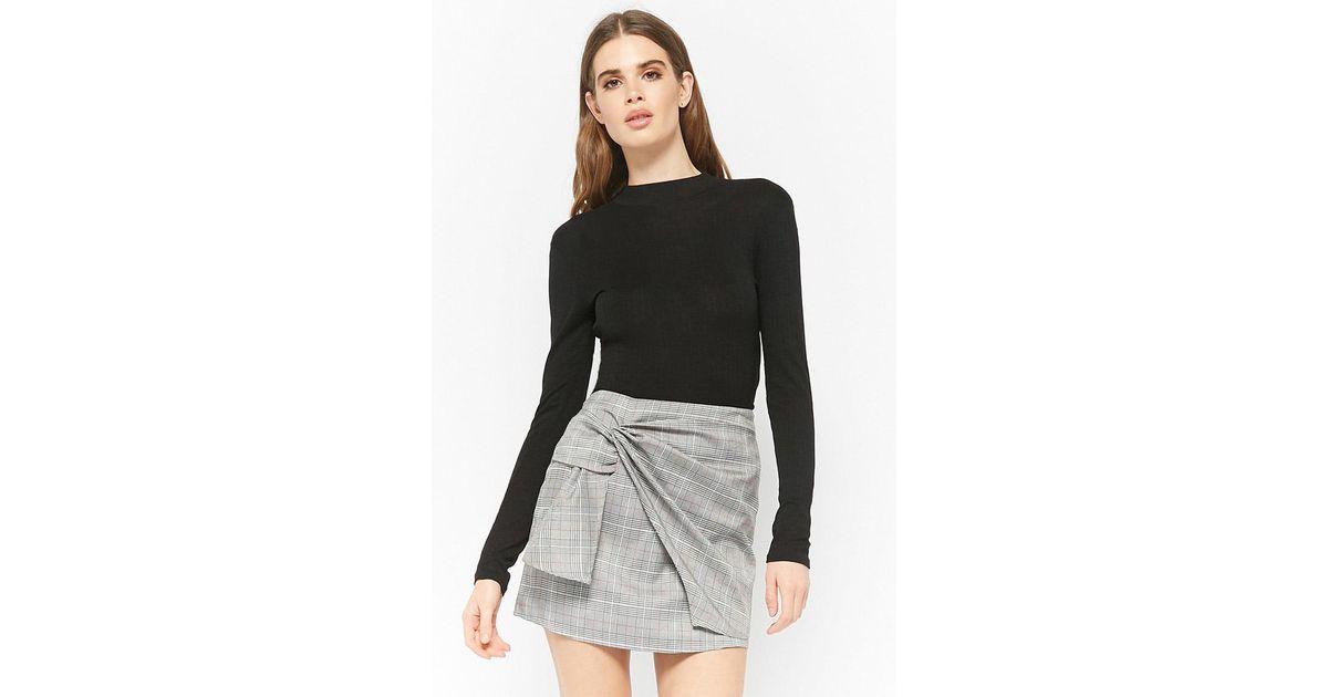 ac1a660371a Forever 21 Black Glen Plaid Mock Wrap Skirt
