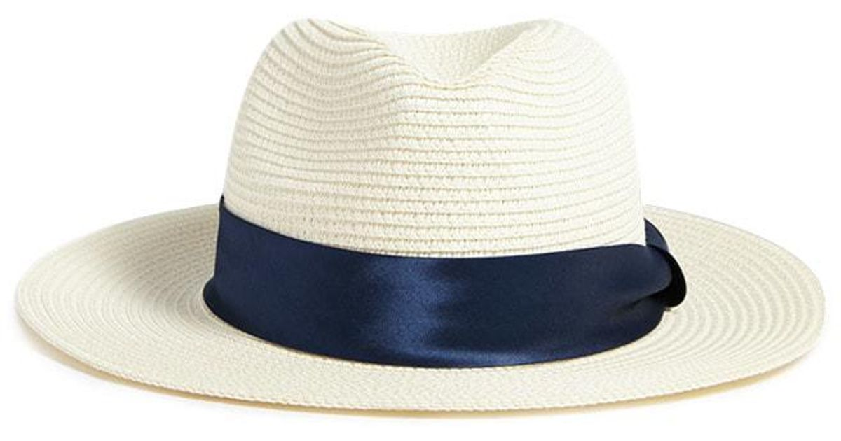 Lyst Forever 21 Satin Band Straw Hat In Blue. Floppy Straw Hat 2cb756ee9c56