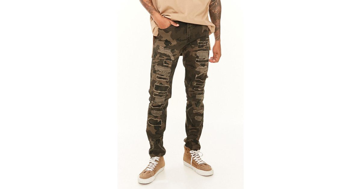 e41aa724c86 Forever 21 Victorious Distressed Camo Jeans in Green for Men - Lyst