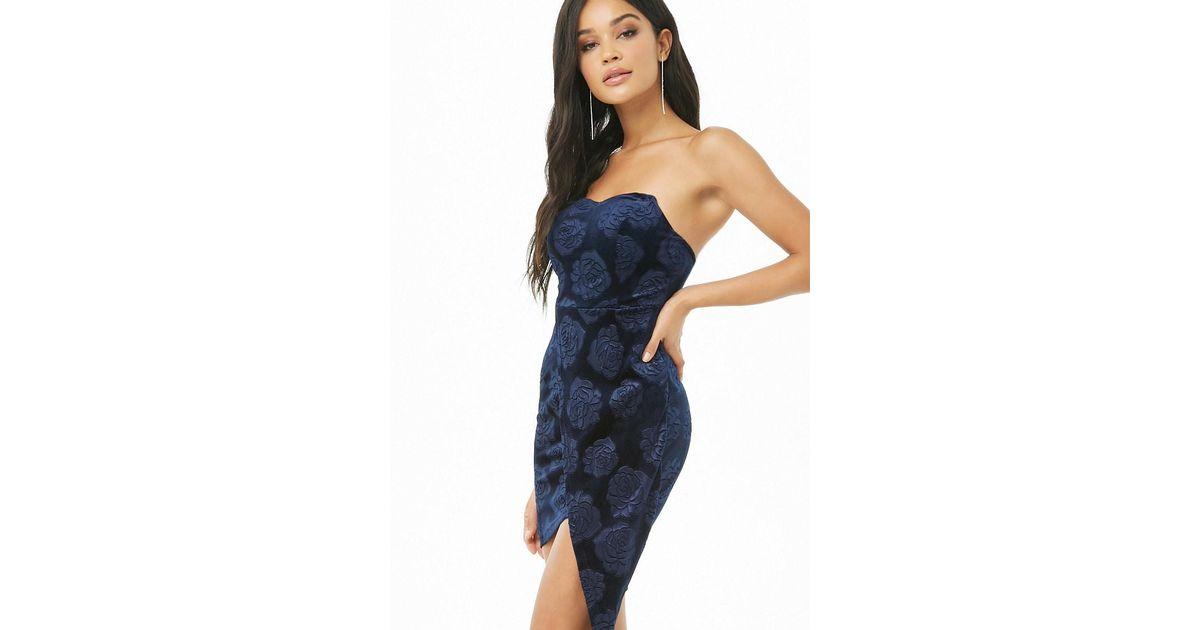 8af959d45279 Lyst - Forever 21 Floral Velvet High-low Dress in Blue