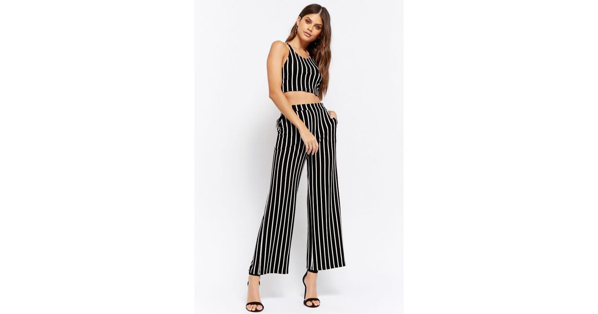 38248db10d9b Forever 21 Striped Crop Top & Wide-leg Pants Set in Black - Lyst