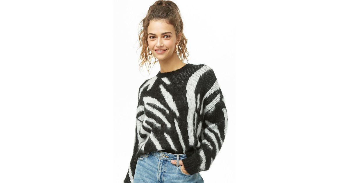 20da2346f291a Lyst - Forever 21 Zebra Stripe Brushed Knit Sweater in Black