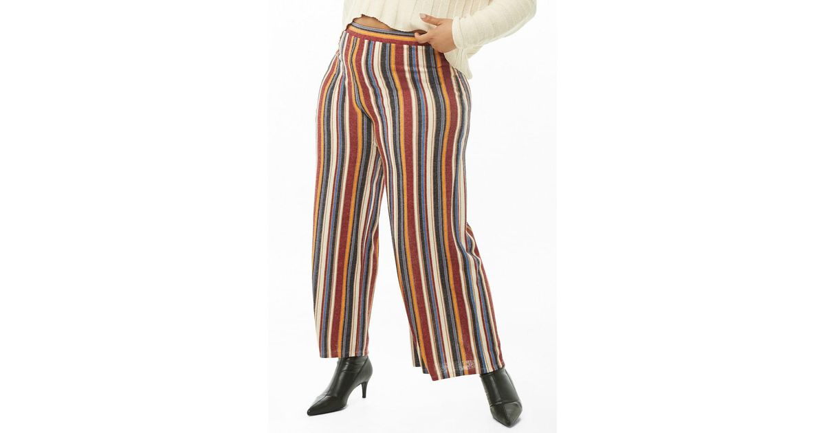 a39e304d6e2 Forever 21 Women s Plus Size Striped High-waist Palazzo Trousers - Lyst