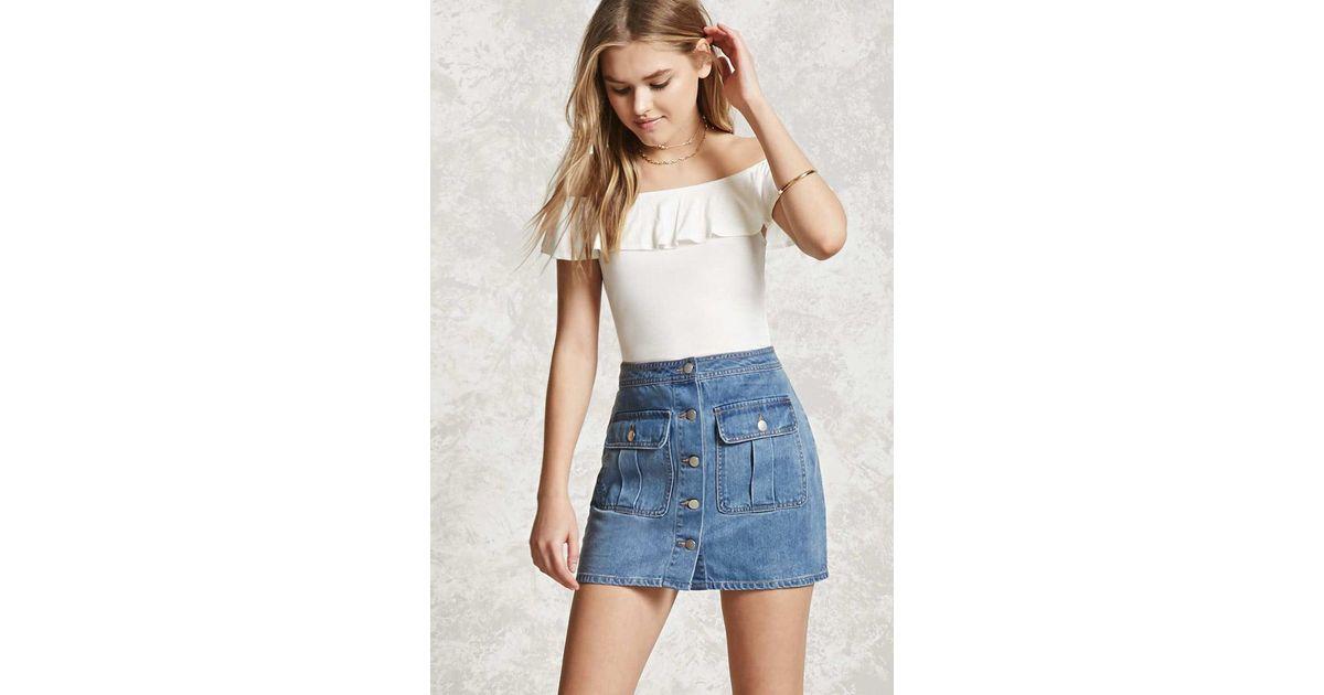 e1d5d6da6c Lyst - Forever 21 Button-up Denim Mini Skirt in Blue