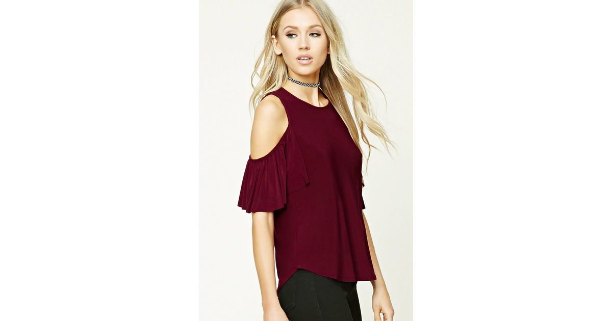 41d3063f9df084 Lyst - Forever 21 Open-shoulder Ruffle Top in Red