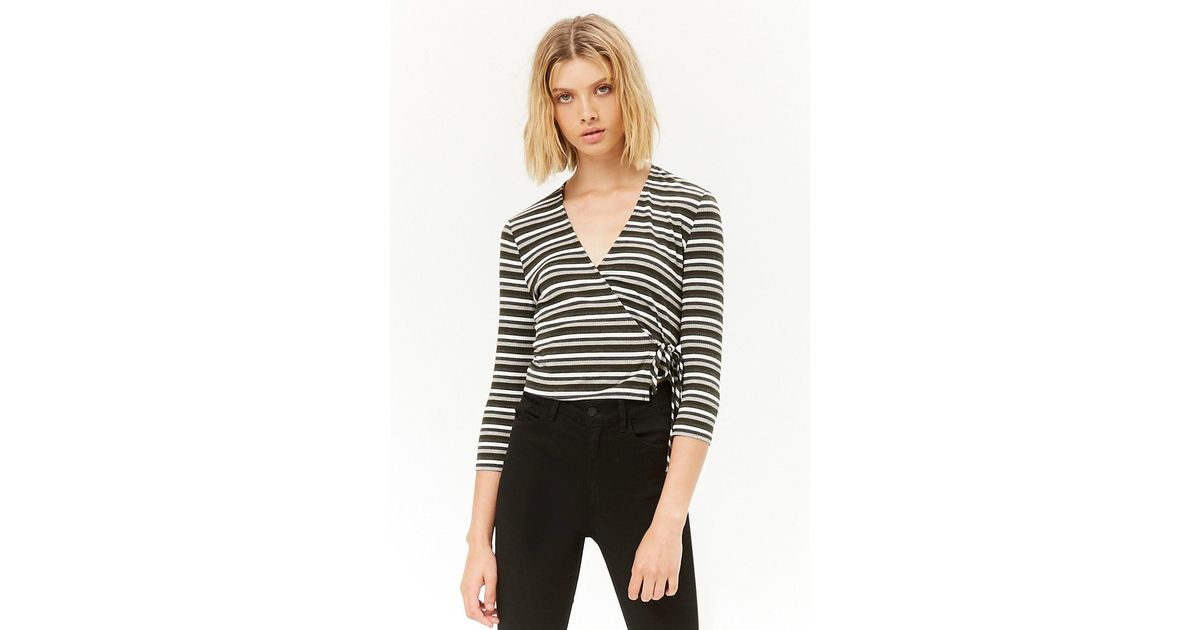 2c21f7592c698 Lyst - Forever 21 Ribbed Knit Striped Wrap Top in Gray
