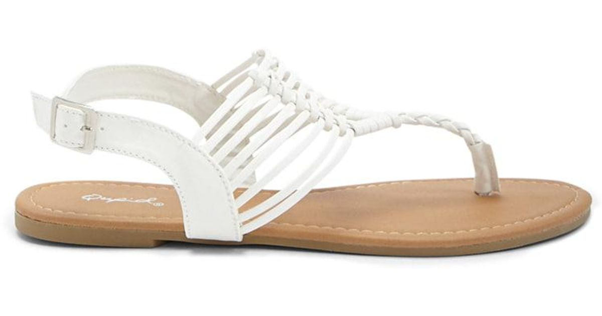 c3689a262b303 Lyst - Forever 21 Qupid Braided Faux Leather Sandals in White