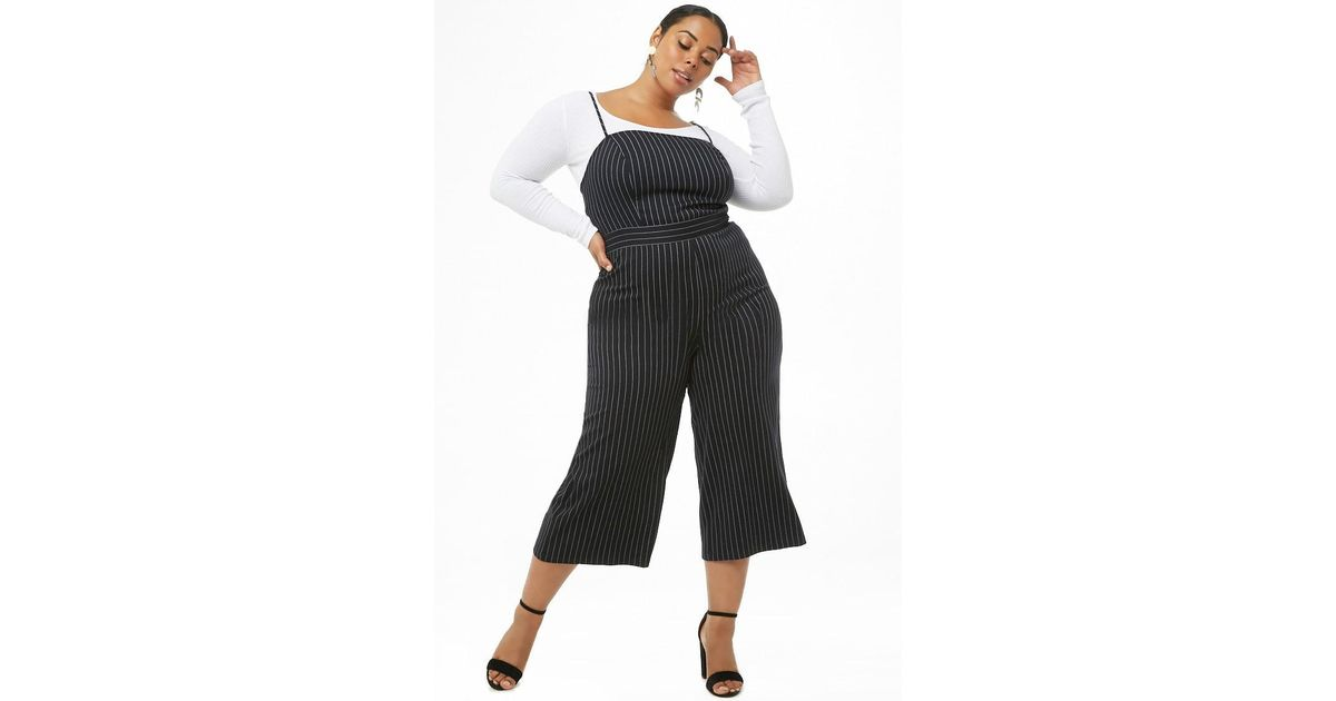 3acdc6b25ea Forever 21 Plus Size Pinstriped Culotte Jumpsuit in Gray - Lyst