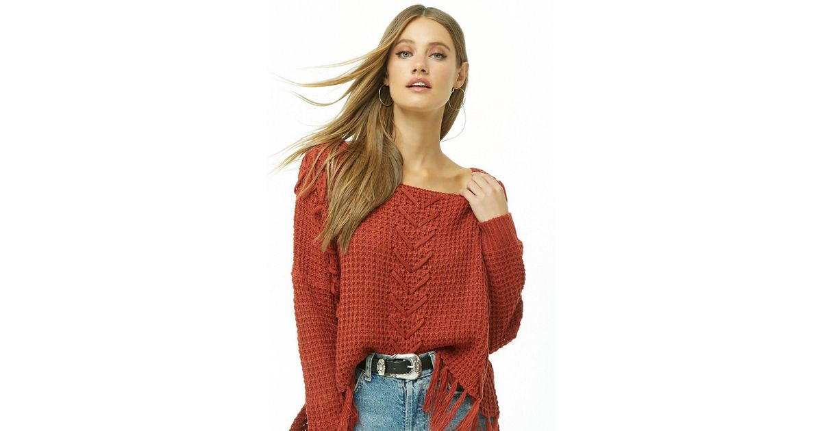 Lyst - Forever 21 Ribbed Lace-up Tassel-hem Sweater c1dc61dd0