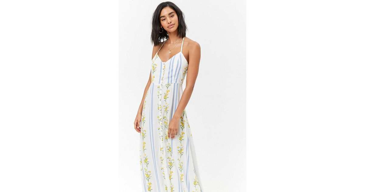 e5b49e5d713f Lyst - Forever 21 Floral Ruffle Maxi Dress