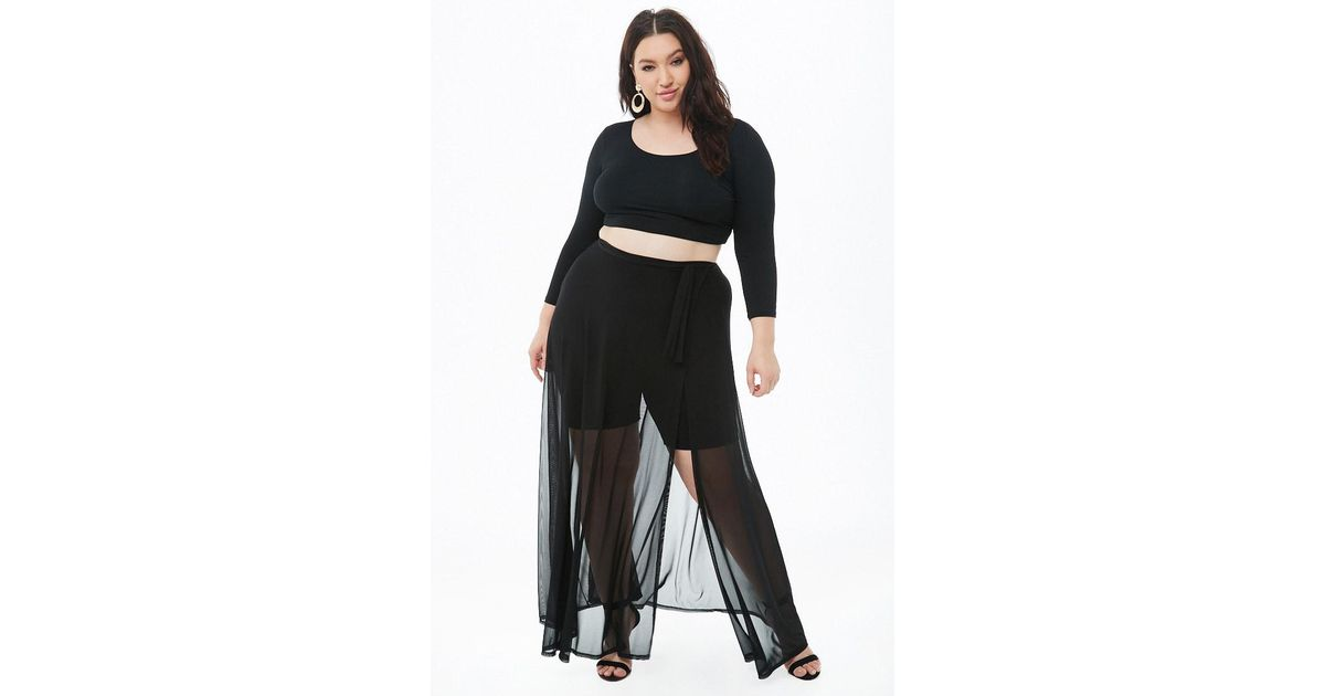 62fdcd32a Forever 21 Women's Plus Size Sheer Mesh Maxi Wrap Skirt in Black - Lyst