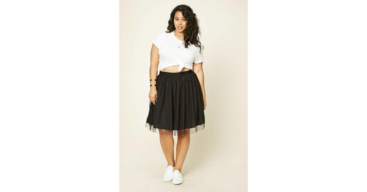 cfa51f3f8ae Forever 21 Plus Size Pleated Tulle Skirt in Black - Lyst