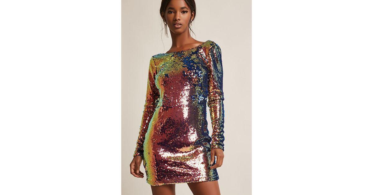 bb3a0d9b9a96 Forever 21 Motel Iridescent Sequin Mini Dress - Lyst