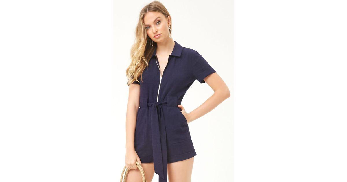 146ccde032 Forever 21 Women s Linen-blend Zip-front Playsuit in Blue - Lyst