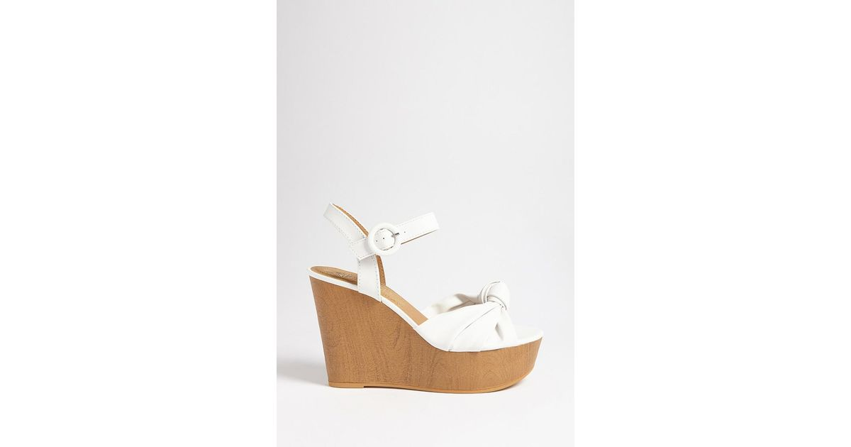 0f45ad42f8ac Lyst - Forever 21 Qupid Knot-front Wedges in White