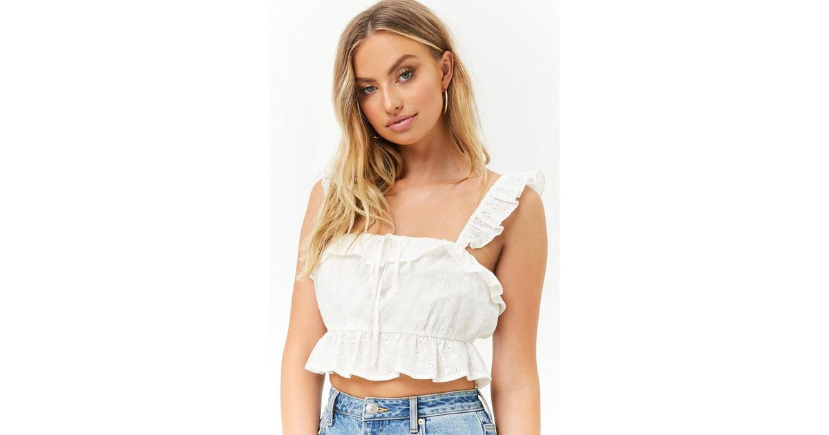 2f45519025e494 Lyst - Forever 21 Women s Eyelet Crop Top in White