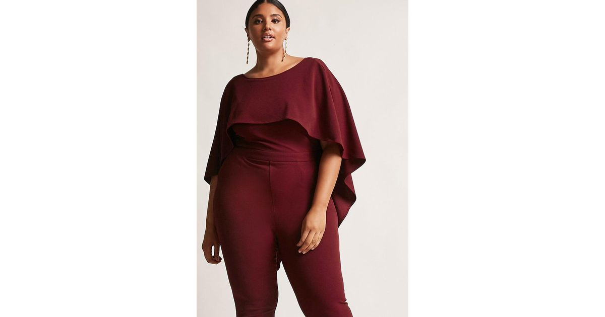 Forever 21 Plus Size Cape Jumpsuit In Red Lyst