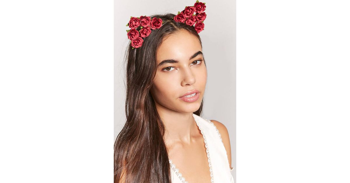 Lyst - Forever 21 Floral Cat-ears Headband in Red 0c7f089d4a3