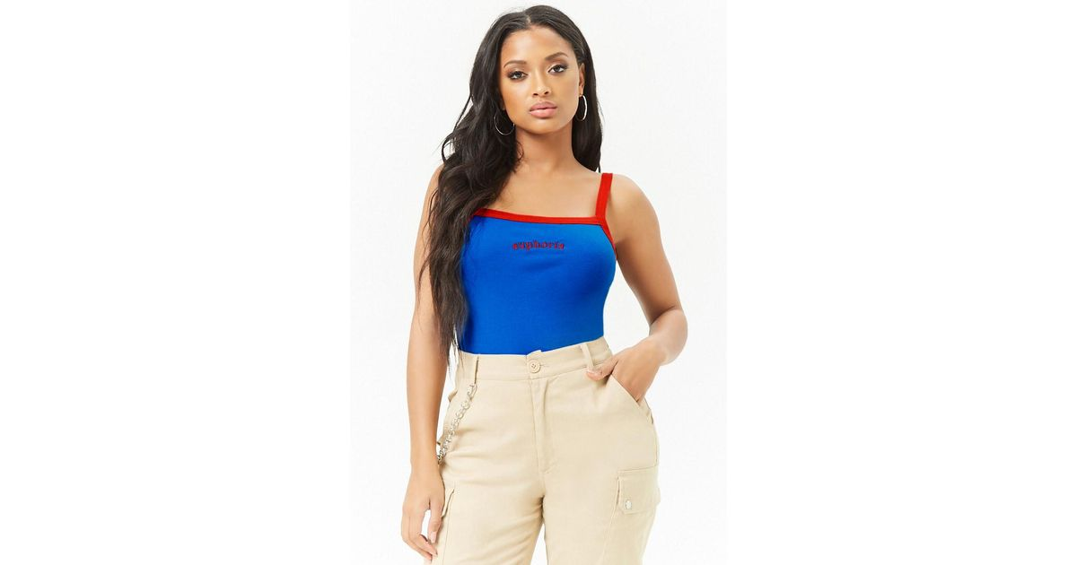 804085ef12370 Lyst - Forever 21 Women s Euphoria Graphic Crop Camisole Top in Blue