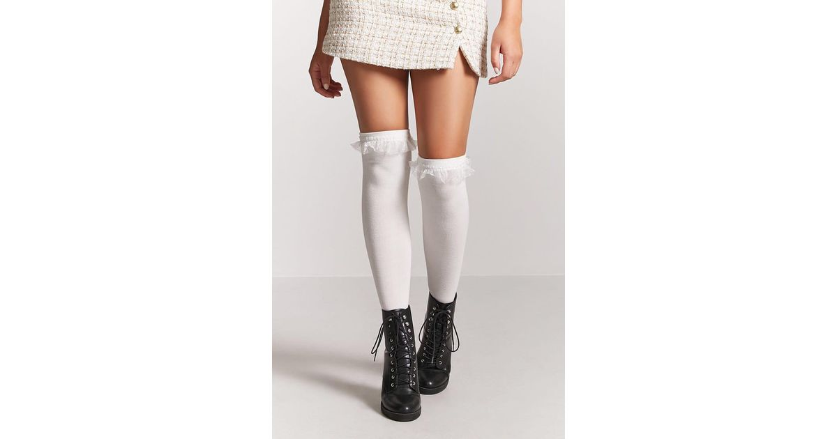 4a831c5a6b2 Forever 21 Over-the-knee Ruffled Socks - Lyst