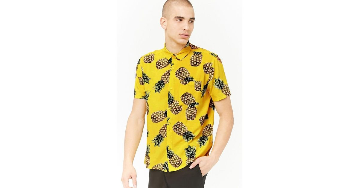 f791635c8f Forever 21 Pineapple Button-front Shirt in Yellow for Men - Lyst