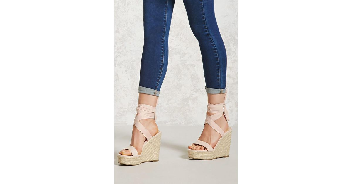 0979b6a4be9 Lyst - Forever 21 Ankle-wrap Espadrille Wedges in Blue