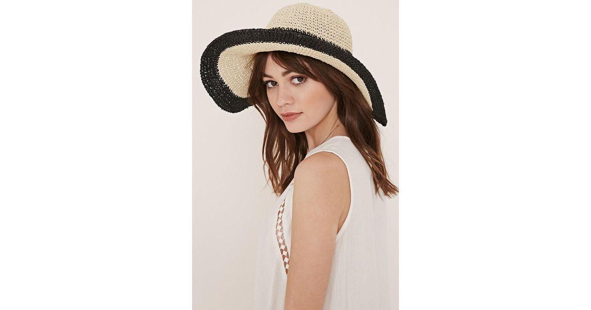 1d9d0623 Forever 21 Striped Floppy Straw Hat in Black - Lyst