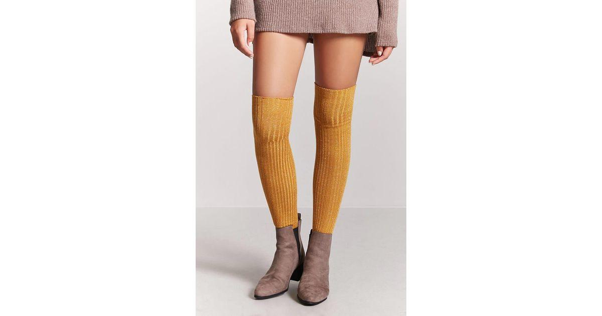 ed5cb3a0802 Forever 21 Metallic Over-the-knee Socks in Metallic - Lyst