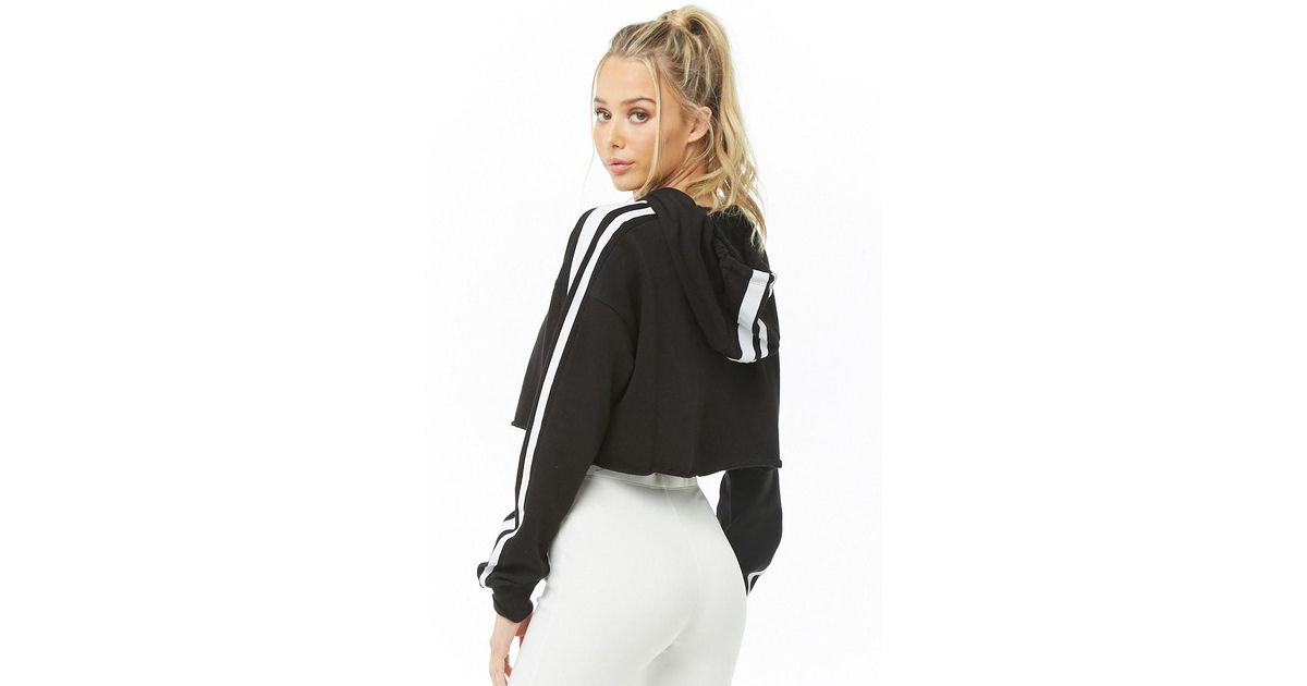 5472e03fc85bbf Lyst - Forever 21 Active Striped Cropped Hoodie in Black