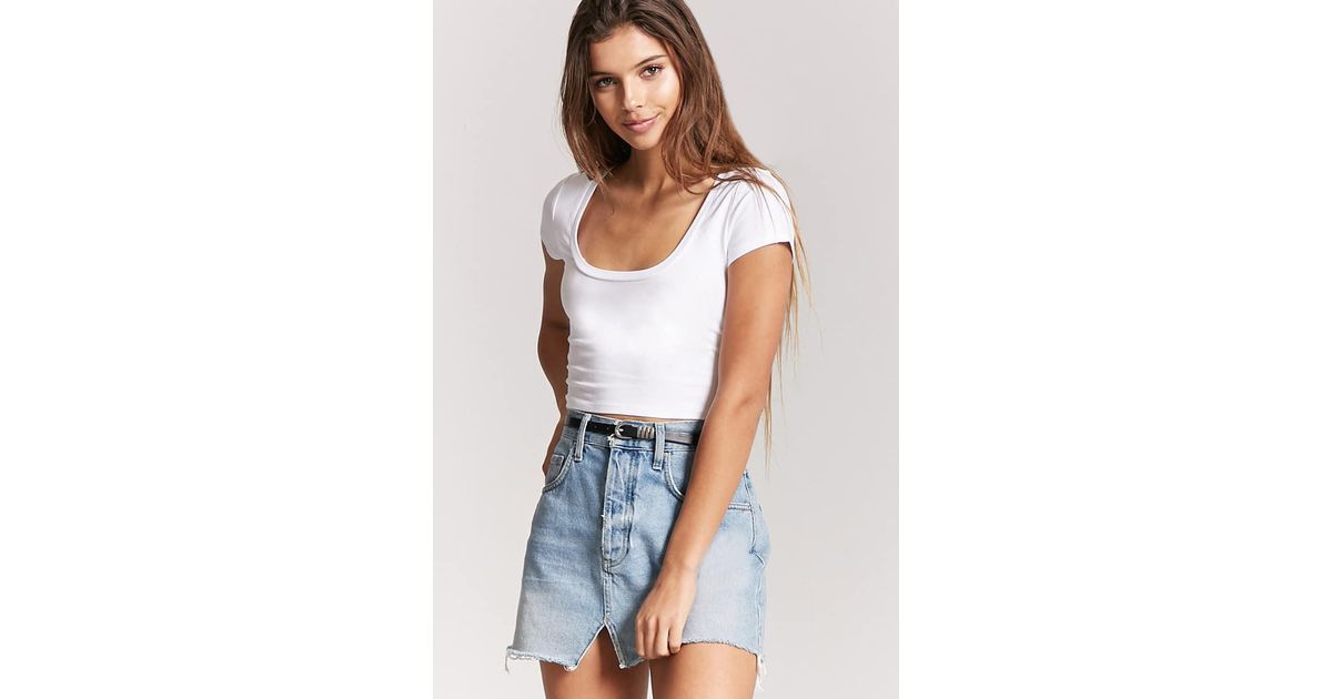 d24951477cc Forever 21 Scoop Neck Crop Tee in White - Lyst