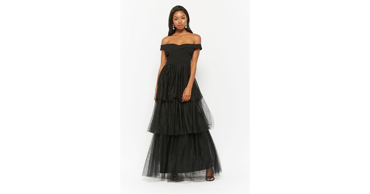 e2f7e3498ded Lyst - Forever 21 Tiered Tulle Maxi Dress in Black