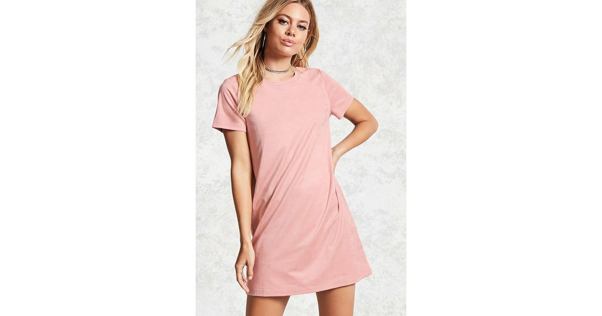 8064984d51c Forever 21 Faux Suede T-shirt Dress in Pink - Lyst
