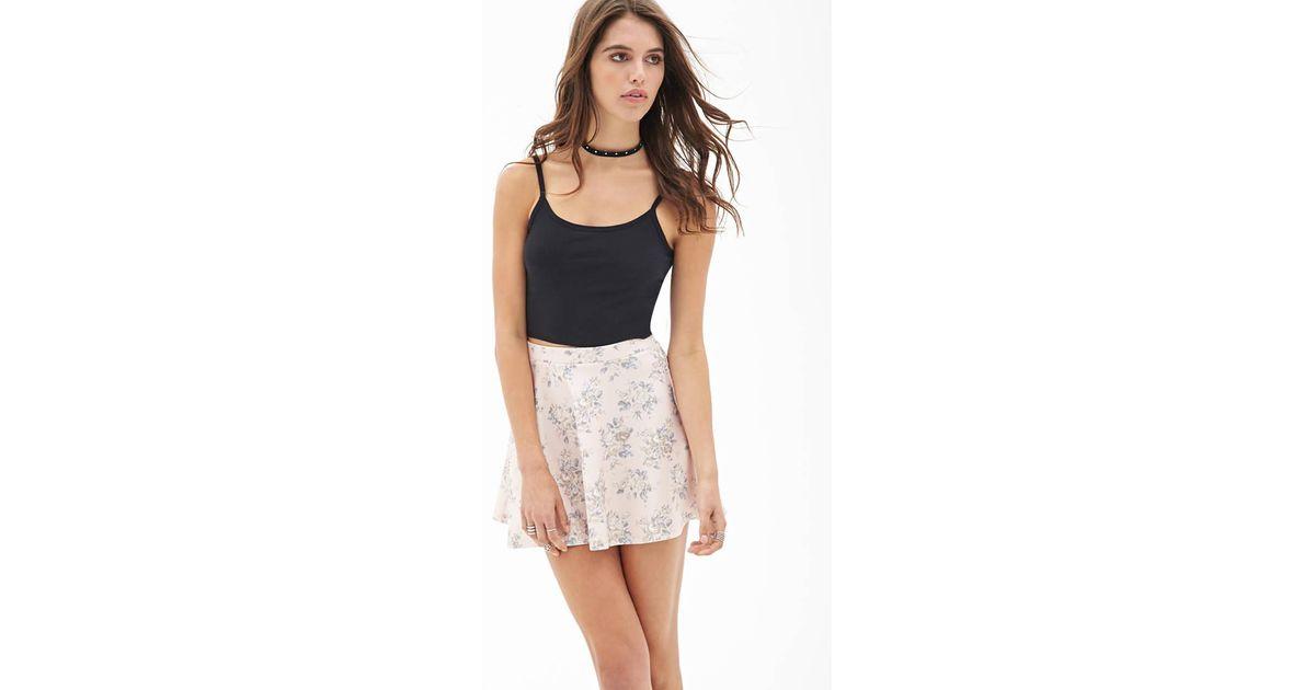 555b8c675e Forever 21 Floral Scuba Knit Skater Skirt - Lyst