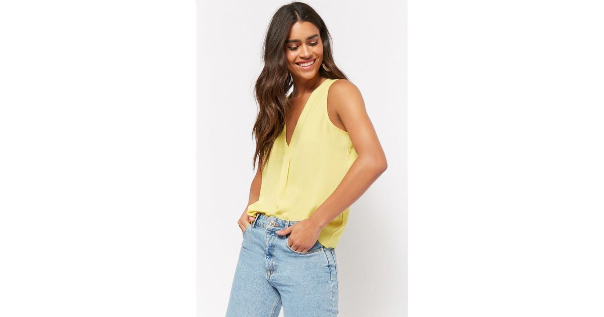 81a6150312e10 Lyst - Forever 21 Relaxed V-neck Tank Top in Yellow