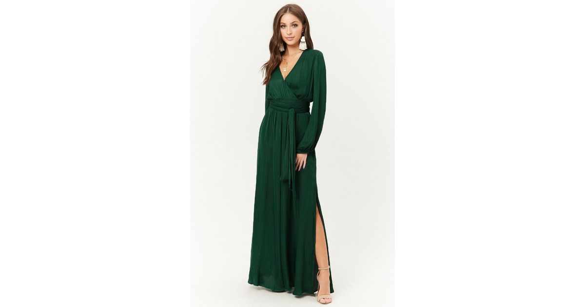 31eec1c660 Forever 21 Belted Surplice Maxi Dress in Green - Lyst