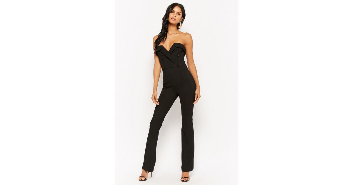 f92518840d6 Lyst - Forever 21 Sweetheart Double-breasted Jumpsuit in Black