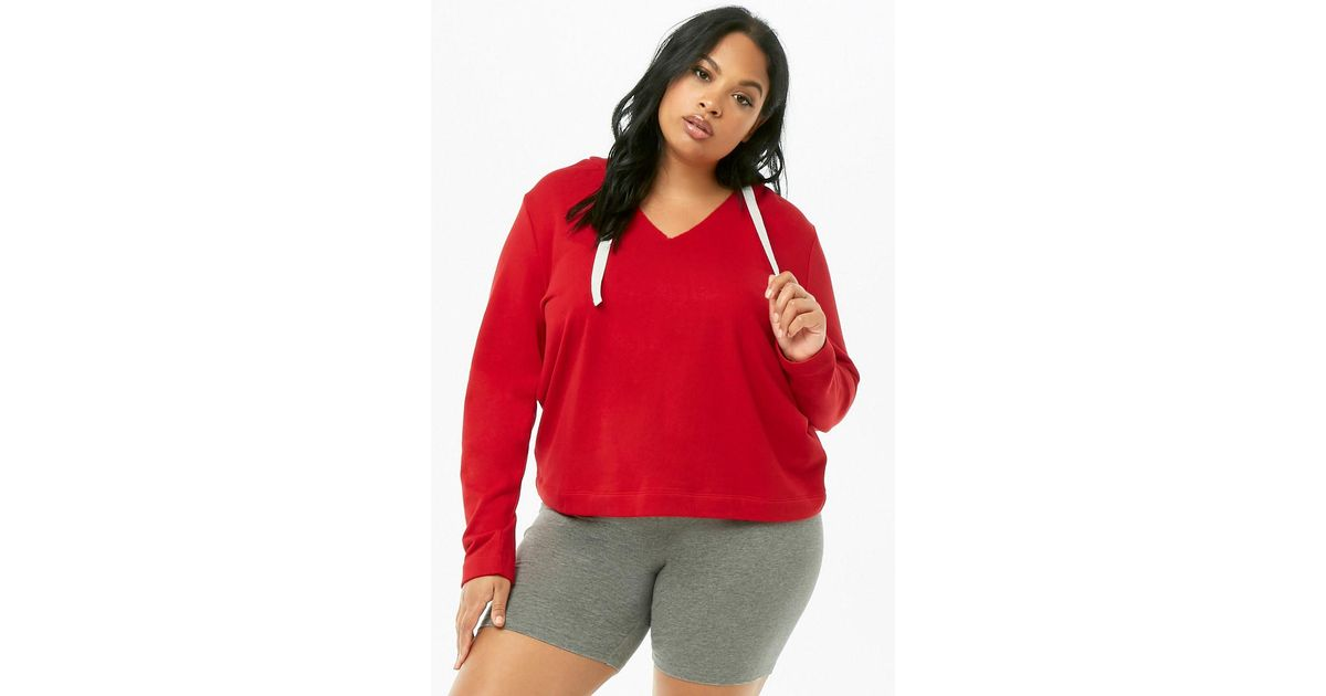 8639b3bd4b Forever 21 Plus Size French Terry Pullover Hoodie in Red - Lyst