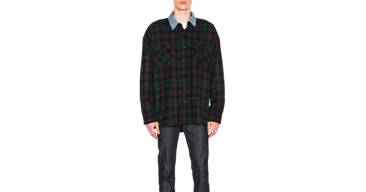 40108891b9 Lyst - Fear Of God Denim Collared Oversized Flannel In Green Plaid in Green