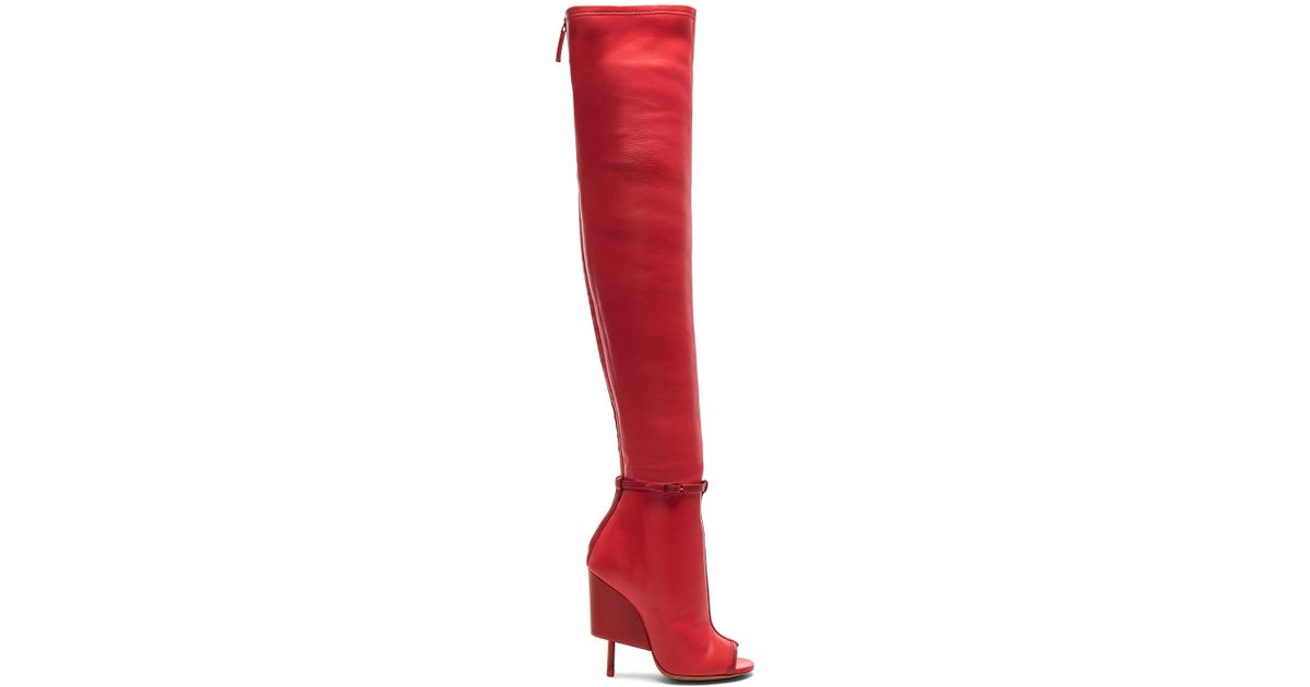 625142cf21f Lyst - Givenchy Thigh High Open Toe Leather Boots in Red