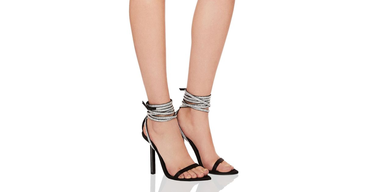 Saint Laurent Tower Crystal Embellished Satin Ankle Strap Sandals In Black  in Black - Lyst