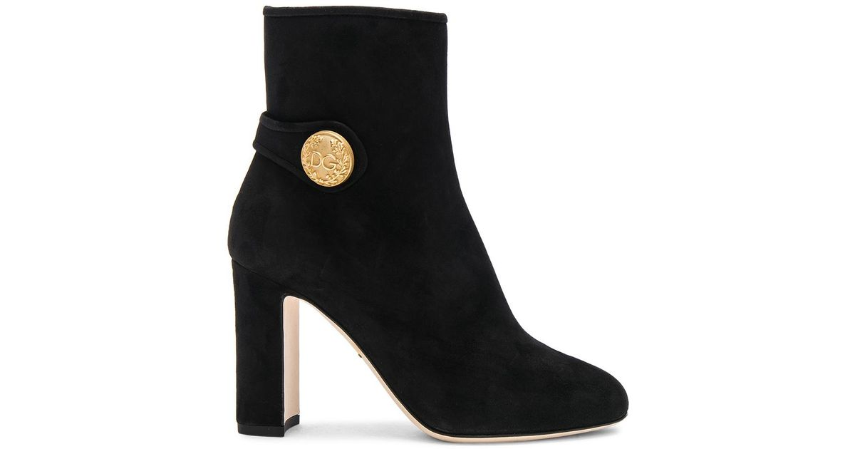 Dolce & Gabbana Side Button Suede Booties in .