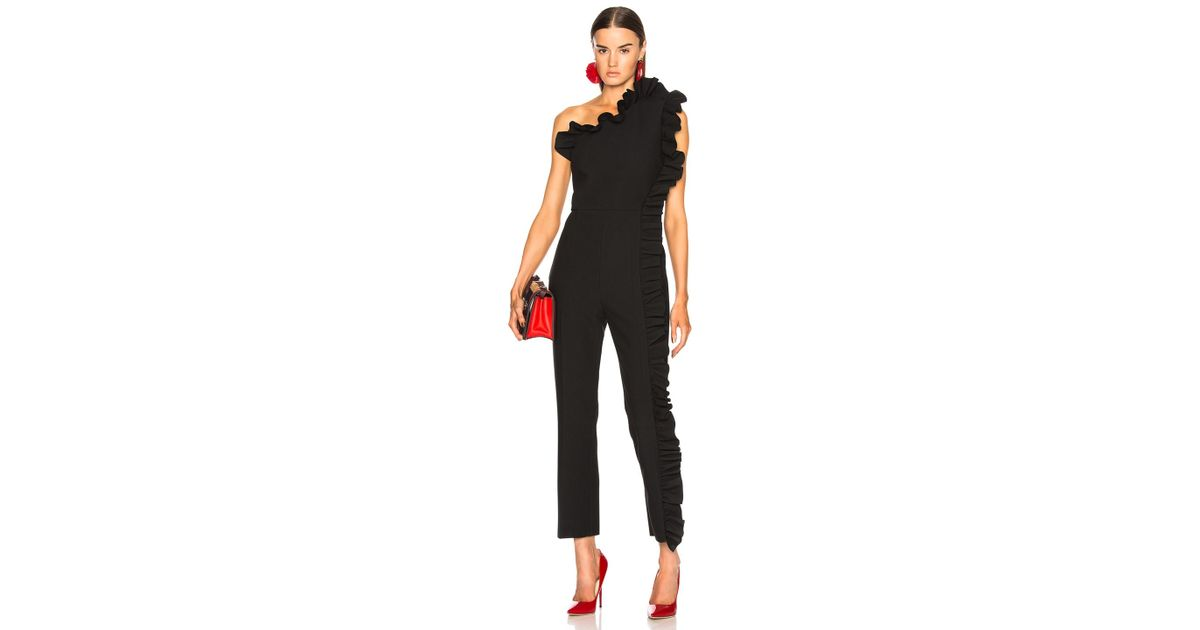 e2a2b5372a7 Lyst - MSGM One Shoulder Ruffle Jumpsuit in Black