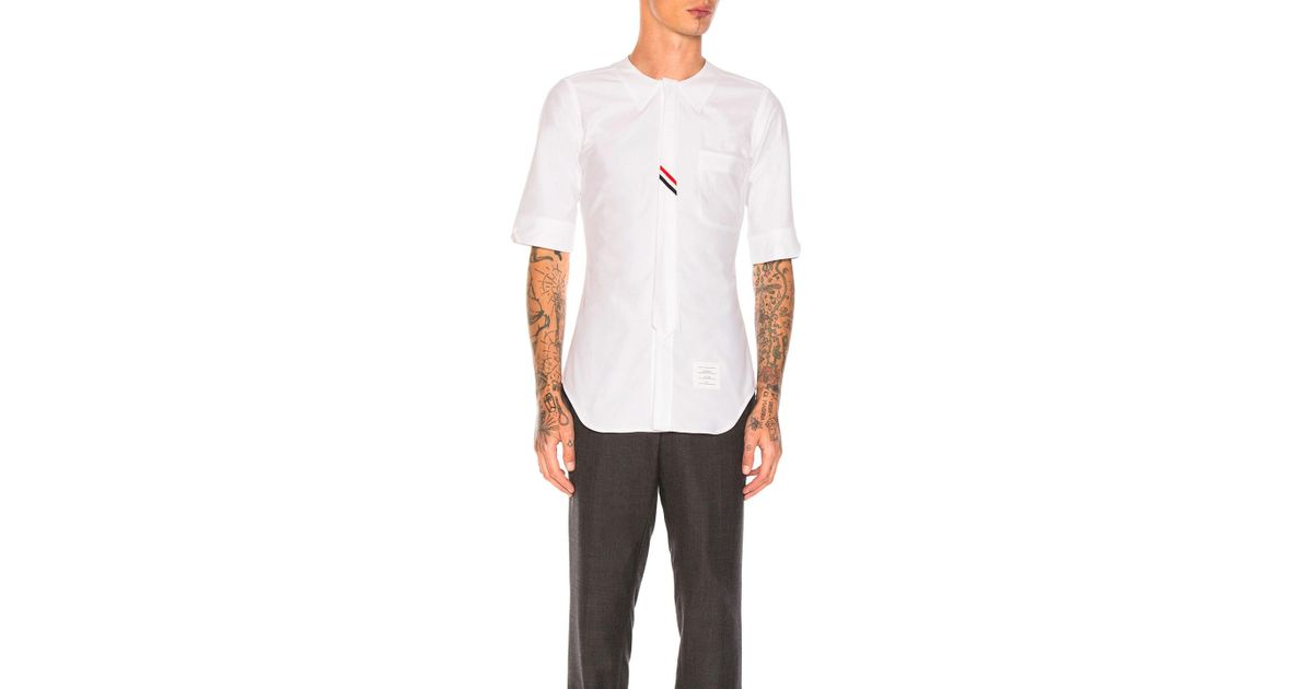 Thom browne collarless short sleeve oxford in white for for Collarless short sleeve dress shirt