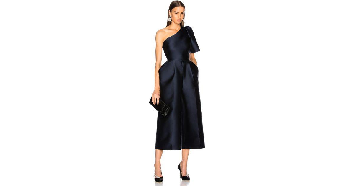2af459af7e Lyst - Stella McCartney Kallie Silk Mix One Shoulder Jumpsuit in Blue